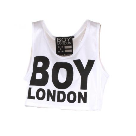 Boy London Canotta Donna Corta Logo Bianco