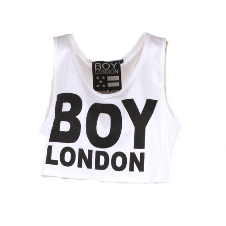 Boy London Canotta Donna Corta Logo Bianco