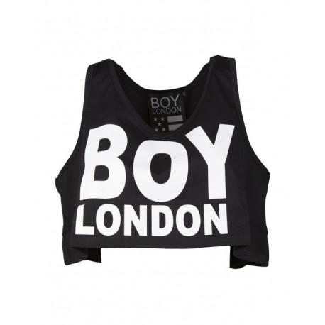 Boy London Canotta Donna Corta Logo Nero