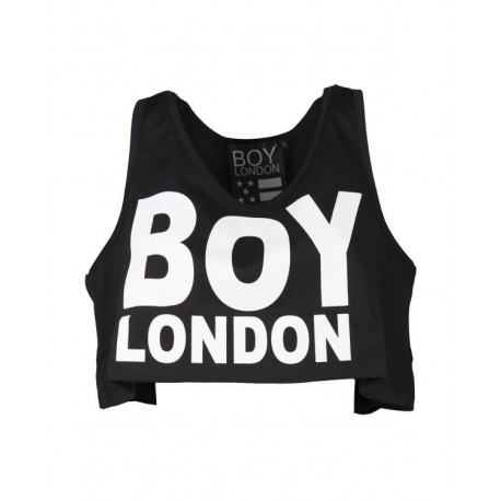 Boy London Canotta Donna Corta Logo Nero