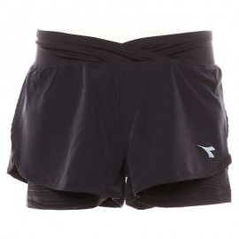 Diadora Short Donna Run Double Layer Dk Smoke