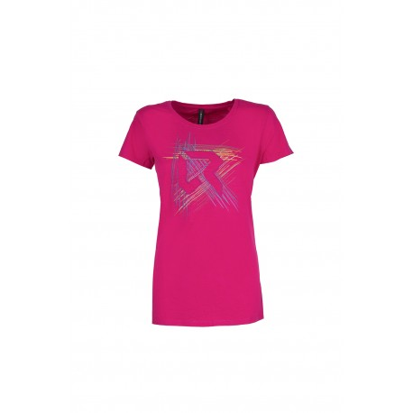 Rock Experience T-Shirt Donna Line Cotton Bright Rose