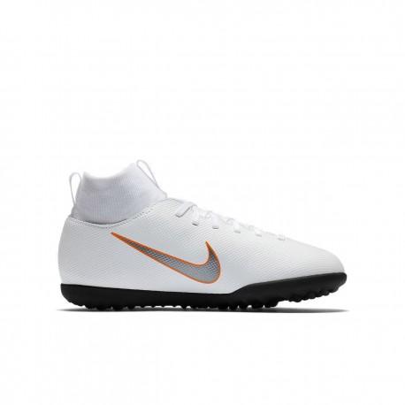 Nike Bambino Superflyx 6 Club Tf White/Grey