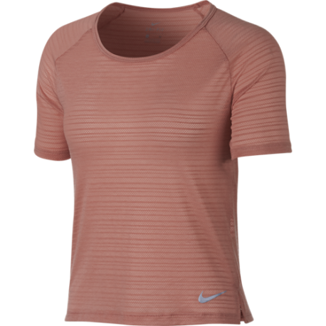 Nike T-shirt Donna Mm Run Miler Top Breathe Rust Pink/Htr