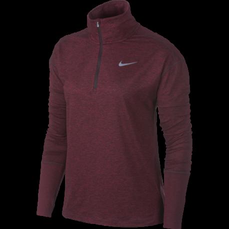 Nike Shirt Donna Run Ml H/Zip Elmnt  Burgundy Crush