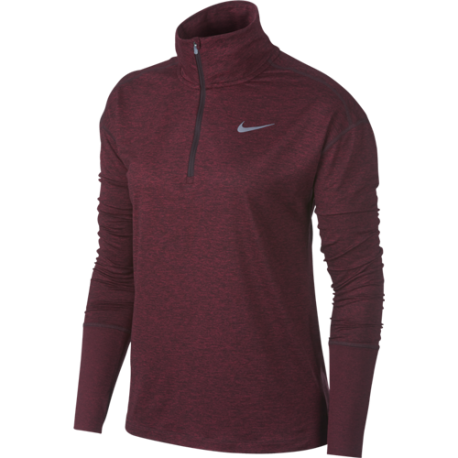 Nike Shirt Donna Run Ml H/Zip Elmnt  Burgundy Crush
