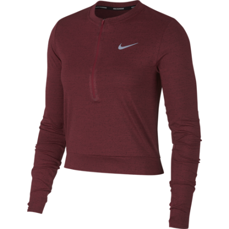 Nike Shirt Donna Run Ml Medalist  Burgundy Crush