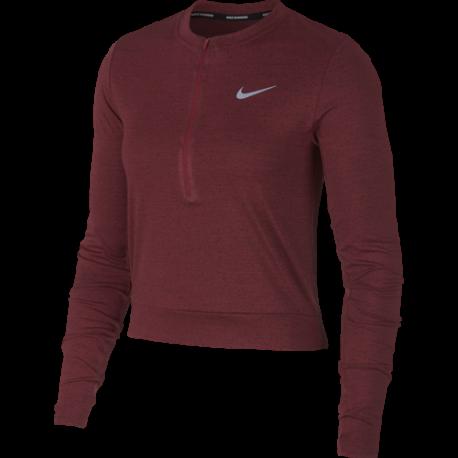 Nike Shirt Donna Run Ml Medalist  Burgundy Crush