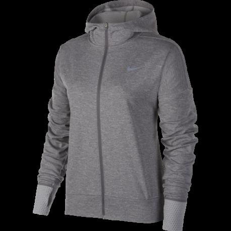 Nike Shirt Donna Ml Run Therma Sphr Elmnt Hd  Gunsmoke/Htr