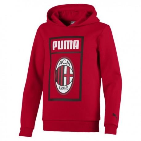 Puma Felpa Bambino Fan C/Cap Ac Milan Rosso