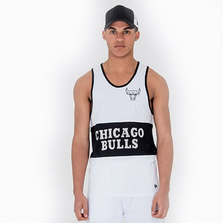 New Era Canotta Nba Mesh Chicago Bulls  Bianco/Nero