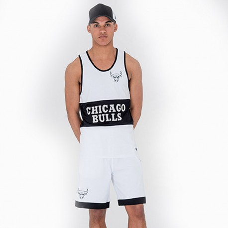 New Era Short Nba Mesh Chicago Bulls  Bianco/Nero