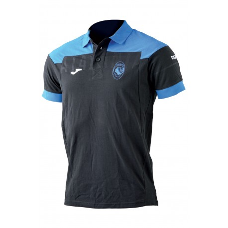 Joma Sport Polo Mm Atalanta Nero/Azzurro