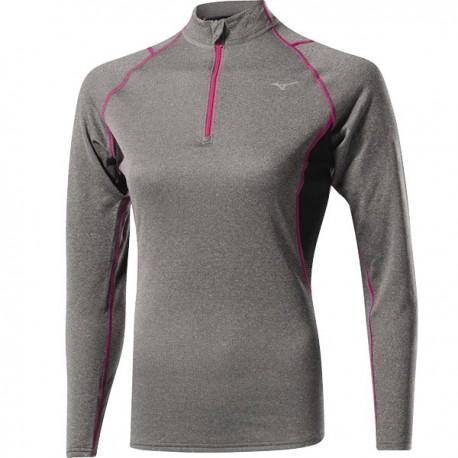 Mizuno Bt T-Shirt Ml Run 1/2 Zip Wool Finegrey/Pink Donna