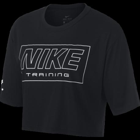 Nike Maglia Manica Corta Cropped Nero Donna