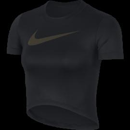 Nike Maglia Manica Corta SS Crop MTLC GRX Nero Donna