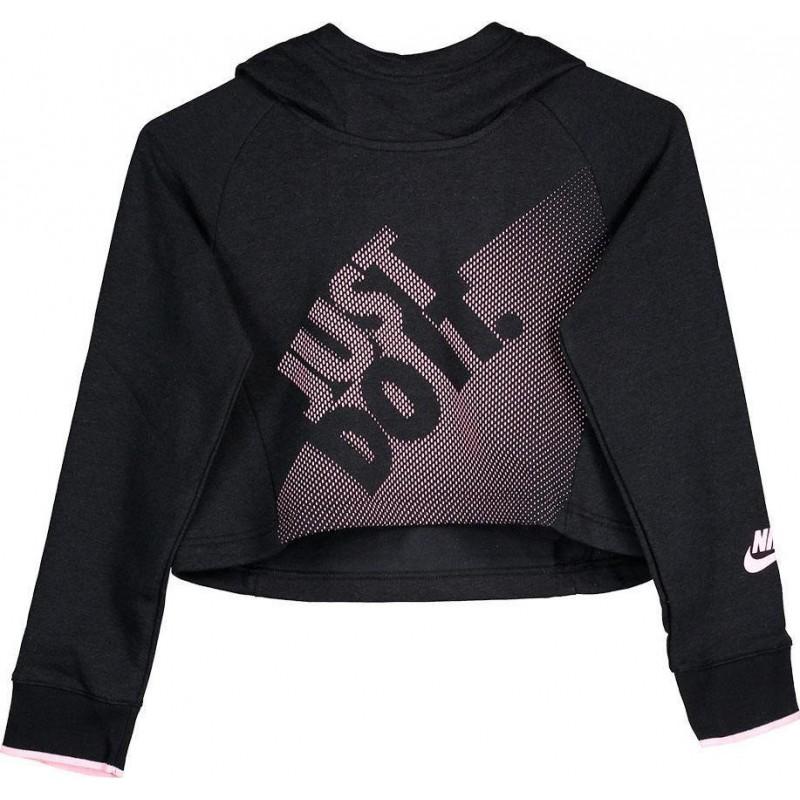 Felpa Crop Su Hoodie Nike Acquista Online Cappuccio Bambina Nera AwOxxqEd