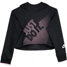 Nike Felpa Hoodie Crop Cappuccio  Nera Bambina