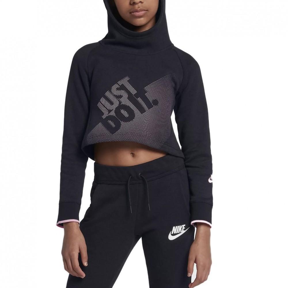 c3932bb083 Nike felpa Hoodie Crop cappuccio Nera Bambina - Acquista online su ...
