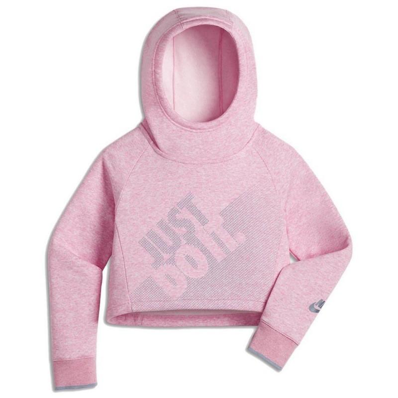 Nike Felpa Hoodie Crop Cappuccio  Rosa Bambina