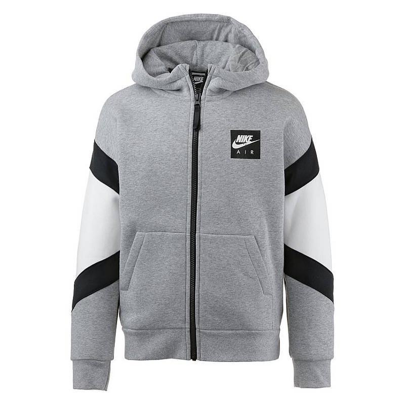 Nike Air Hoodie FZ Grigio Bianco Bambino