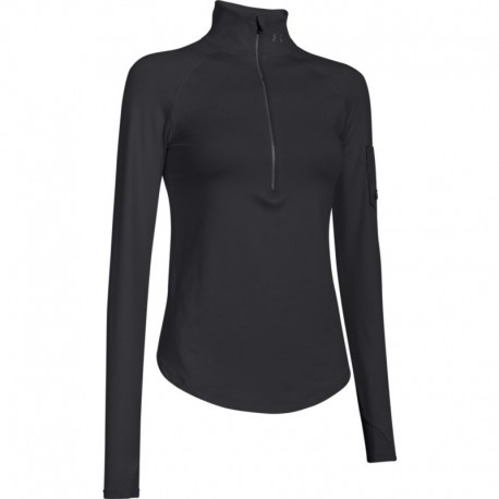 Under Armour T-Shirt Ml Run 1/2 Zip Nero Donna