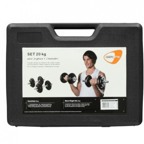 Get Fit 20 Kg Black Dumbbell Set Valigetta