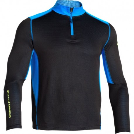 Under Armour T-Shirt Ml Run Grid 1/4 Zip Black/Blue Jet