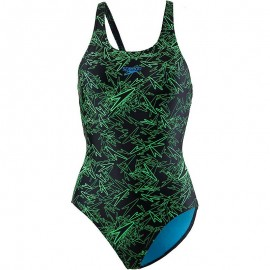 Speedo Costume Intero Boom Allover Nero Verde Donna