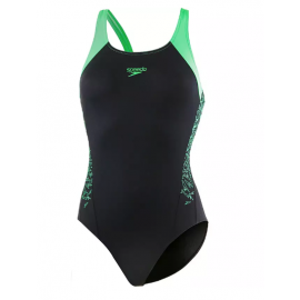 Speedo Costume Intero Boom Splice Nero Verde Donna