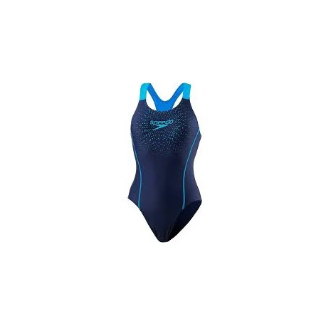 Speedo Costume Intero Gala Logo Navy Blu Donna