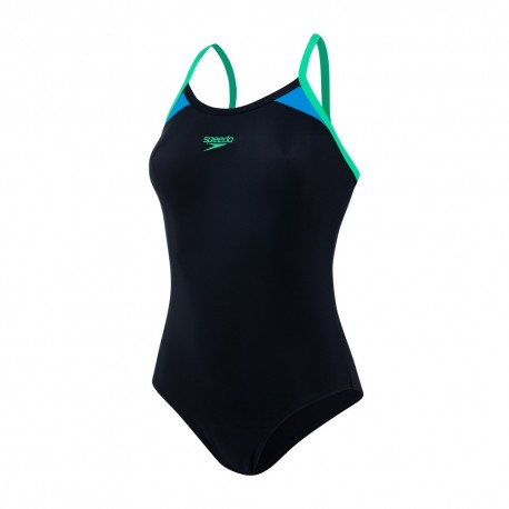 Speedo Costume Intero Splice Nero Verde Donna