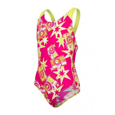 Speedo Costume Wizzy Flash Rosa Lime Bambina