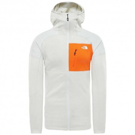 The North Face Felpa Con Cappuccio In Pile Imprendor Grid Bianco Arancione Uomo