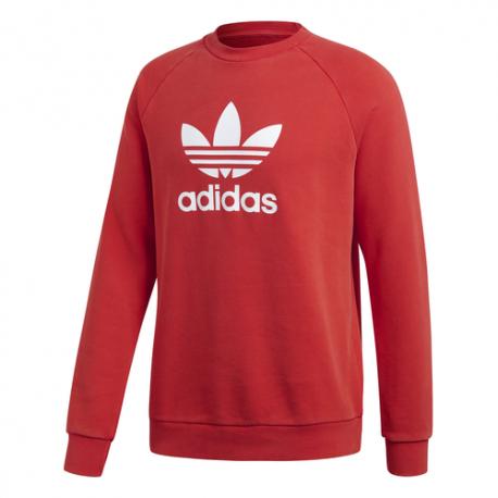 Adidas Felpa Girocollo Trefoil Con Logo Rosso Uomo