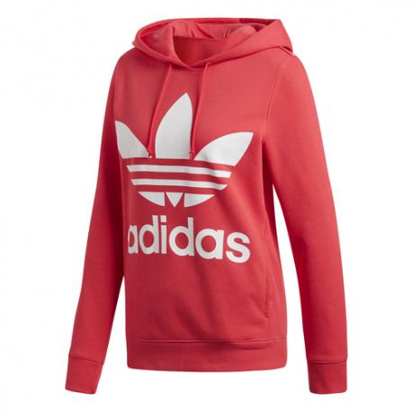 Adidas Felpa Trefoil Con Logo Slim Rosso Donna