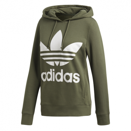 Adidas Felpa Trefoil Con Logo Slim Verde Donna