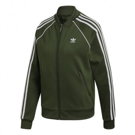 Adidas Felpa Tuta Con Cerniera Zip Superstar Verde Donna ... 654392d798df