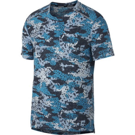 Nike Maglia Running Manica Corta Rise 365 Blu Argento Uomo