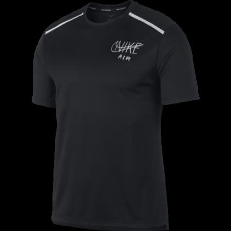 Nike Maglia Running Manica Corta Dry Miler Nero Bianco Uomo