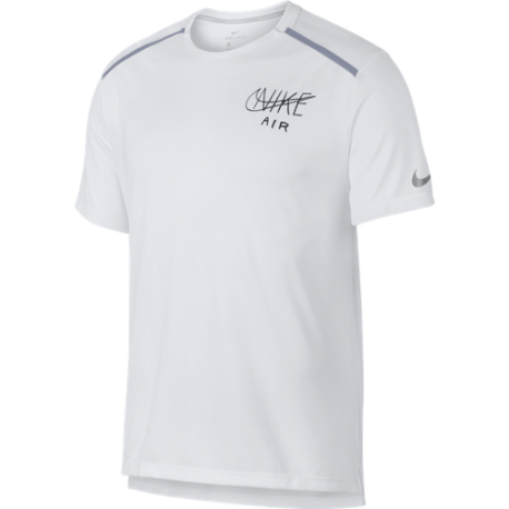 Nike Maglia Running Manica Corta Dry Miler Bianco Nero Uomo