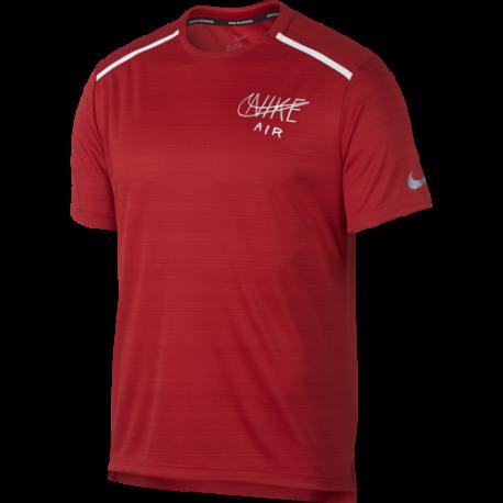 Nike Maglia Running Manica Corta Dry Miler University Rosso Bianco Uomo