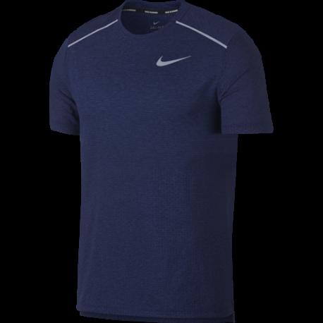 Nike Maglia Running Manica Corta Breathe Rise 365 Blu Uomo