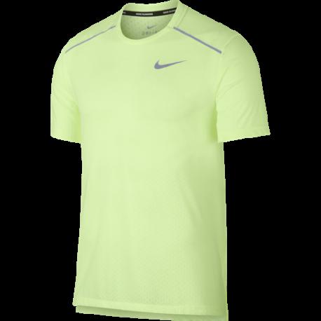 Nike Maglia Running Manica Corta Breathe Rise 365 Verde Uomo