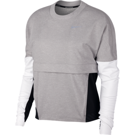 Nike Maglia Running Manica Corta Therma Sphere Grigio Nero Donna