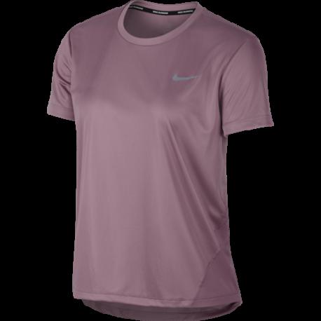 Nike Maglia Running Manica Corta Miler Rosa Cipria Donna