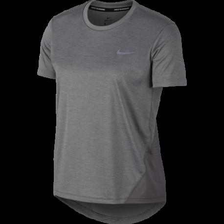 Nike Maglia Running Manica Corta Miler Grigo Donna