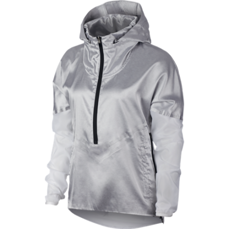Nike Giacca A Vento Running Tech Pack Grigio Bianco Donna