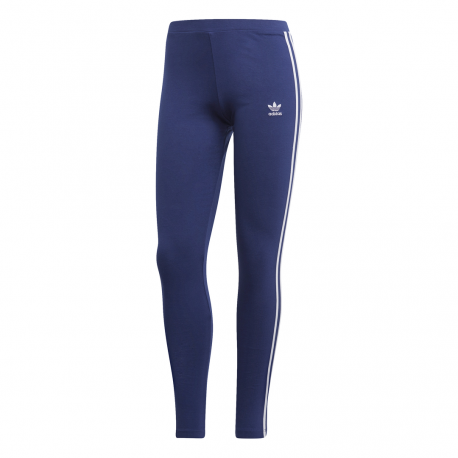 Adidas Original Leggings 3 Stripes Blu Donna