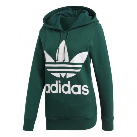 Adidas Originals Felpa Trefoil Hoodie Verde Donna